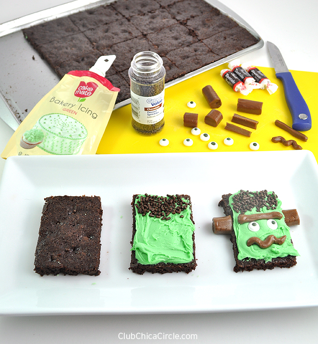 Easy Frankenstein Brownies for halloween treat
