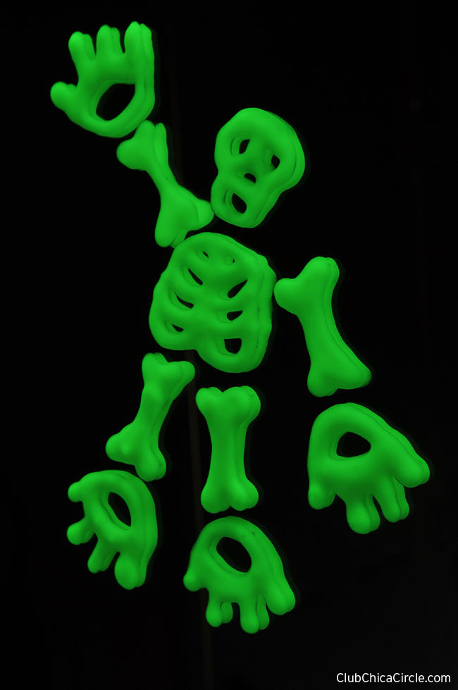Glow in the Dark Skeleton Mirror and Window Cling Craft idea for kids