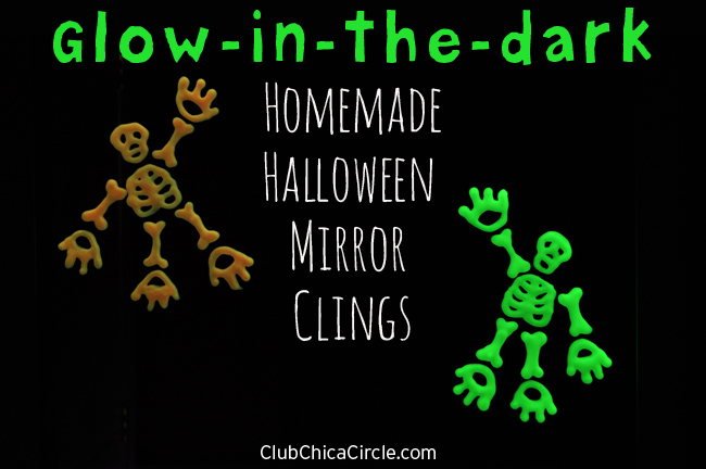 Glow in the dark homemade Halloween mirror clings