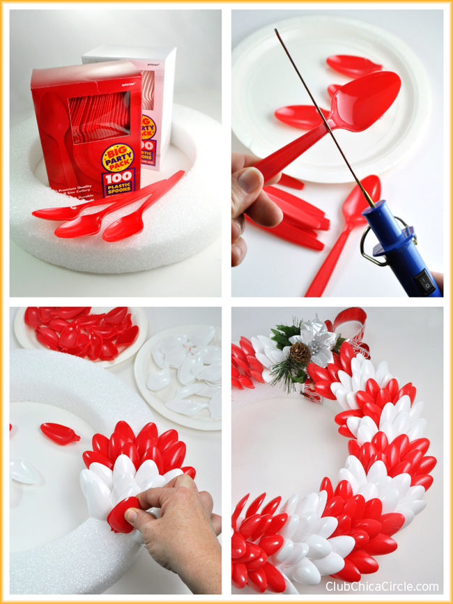 How to make an easy holiday wreath with colorful plastic spoons