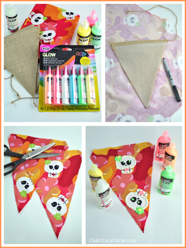 Tulip Glow Fabric Paint Halloween Banner Craft Idea