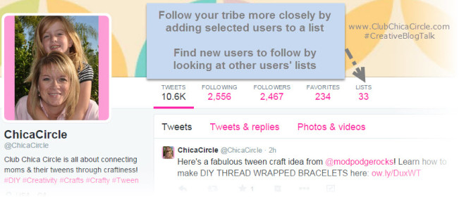Following your tribe via Twitter lists - #CreativeBlogTalk