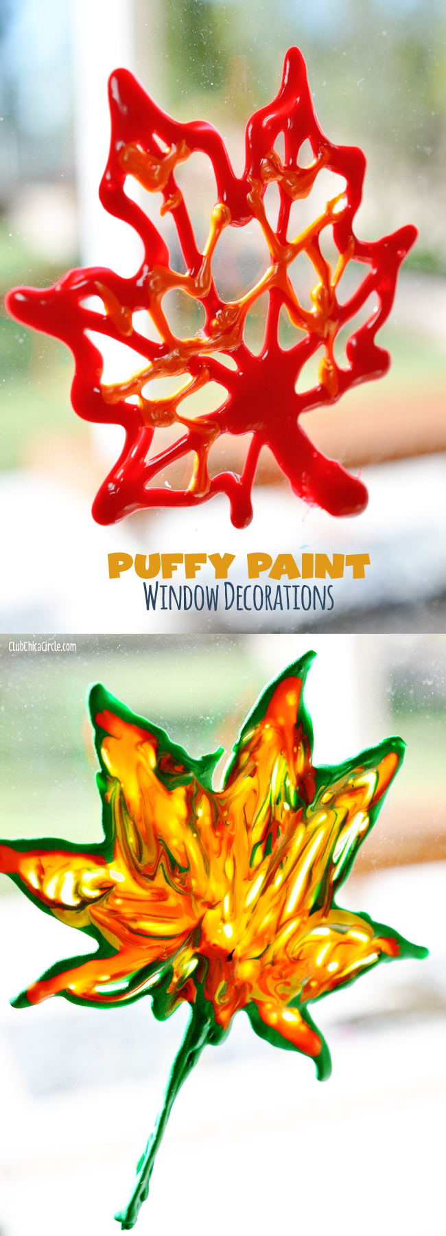 Fall Leaf Puffy Paint Window Decorations