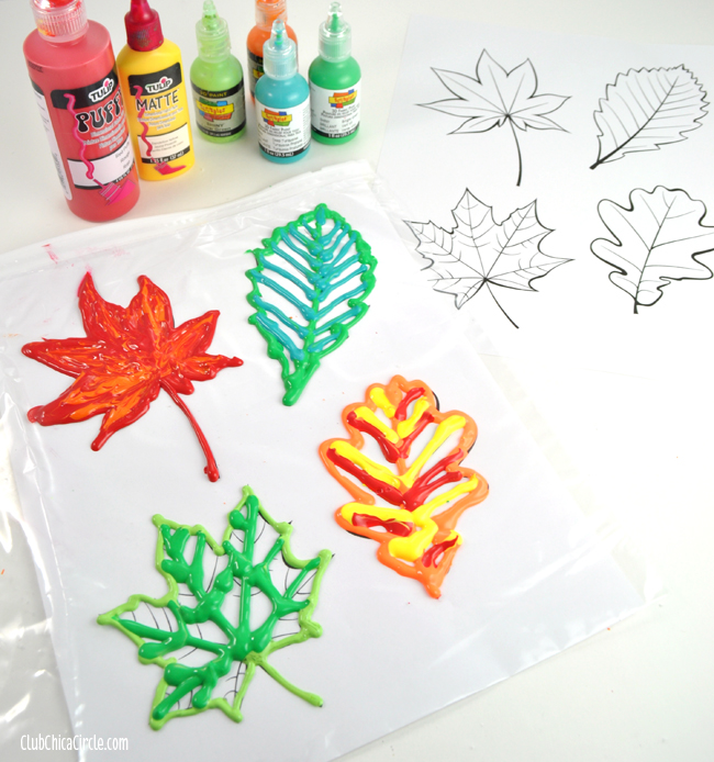 Fall Leaves Puffy Paint Homemade Window Clings
