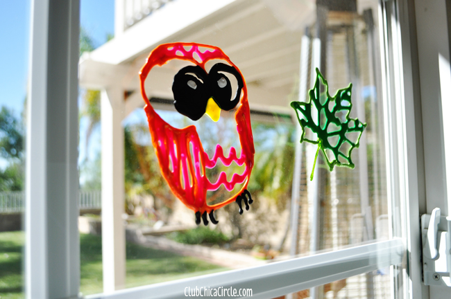 Fall window decorations craft idea for kids