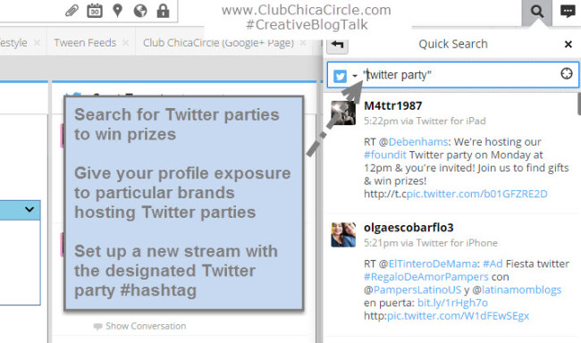 Find Twitter Parties and Monitor Using Hootsuite #CreativeBlogTalk