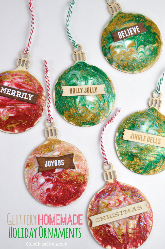 Glittery Homemade Holiday Ornaments Craft