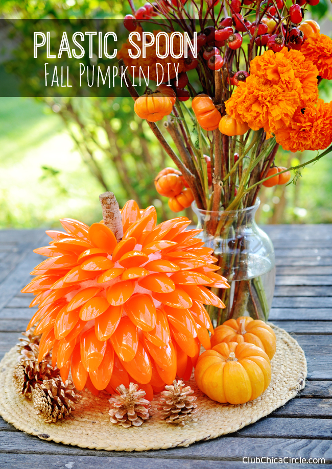 Homemade Fall Pumpkin with Plastic Spoons DIY