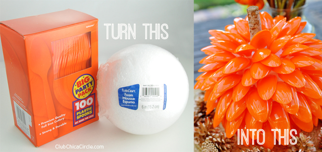 How to turn a foam ball and plastic spoons into pumpkins
