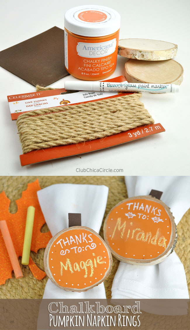 Thanksgiving Chalkboard Pumpkin Napkin Rings