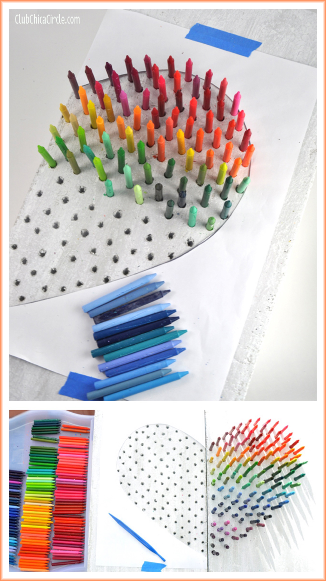Fun Rainbow Crayon Wall Art Craft Idea #MakeItFunCrafts  sc 1 st  Club Chica Circle & Faux Stone Rainbow Crayon Wall Art DIY