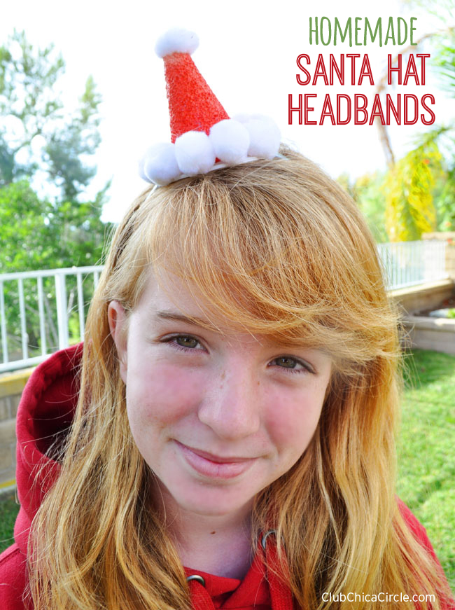 Homemade Santa Hat Headbands Craft with Foam Cone