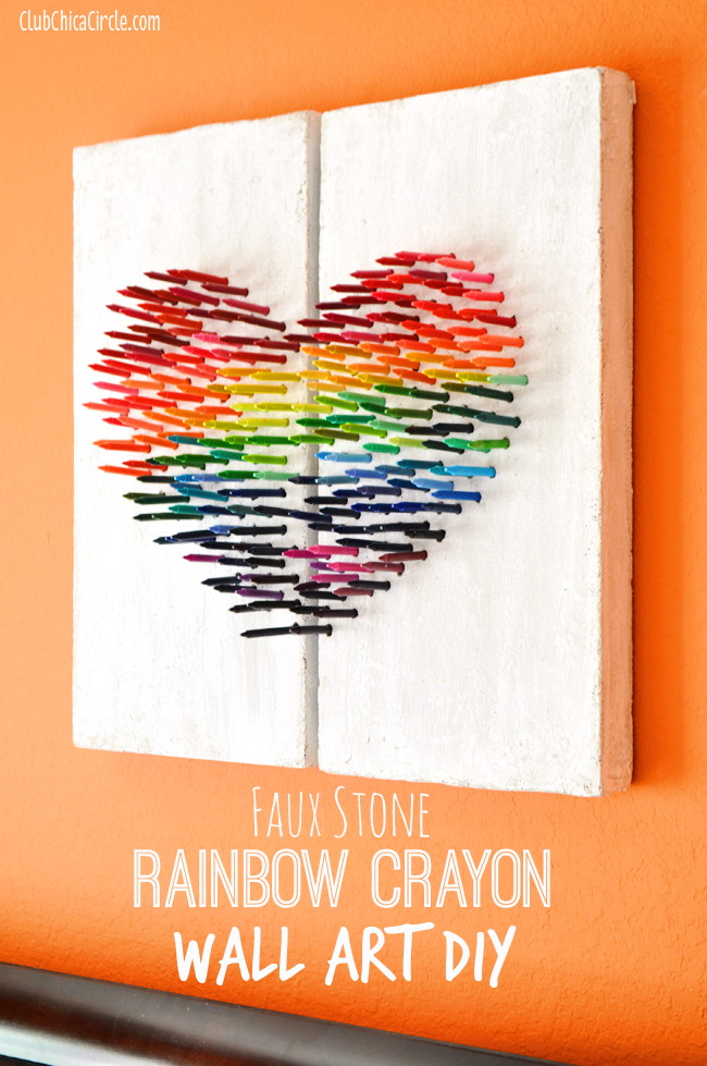 faux stone rainbow crayon wall art diy