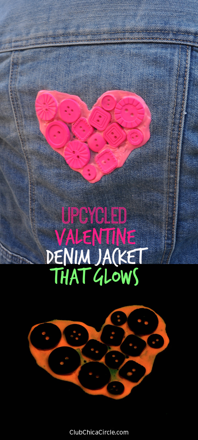 Upcycled Denim Jacket for Valentines Day that Glows for Tweens