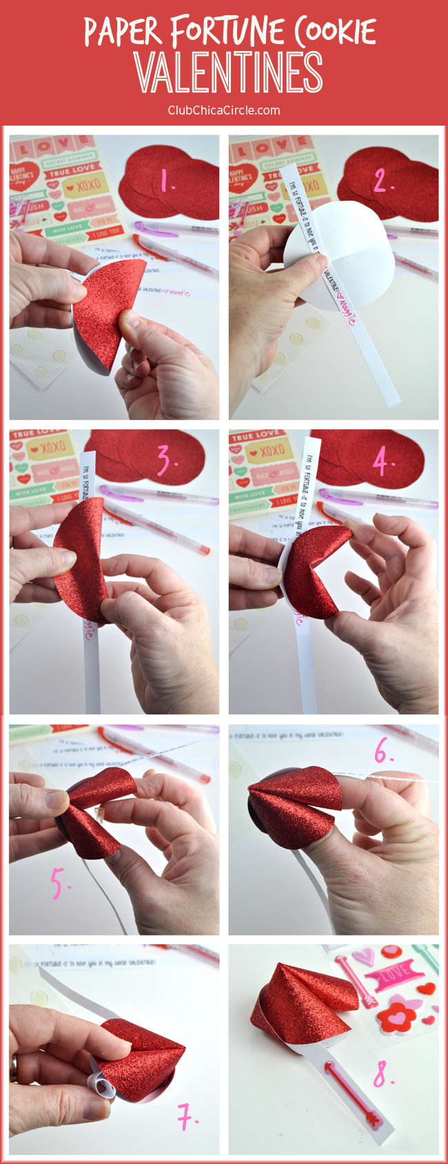 Easy Paper Fortune Cookie Valentines DIY