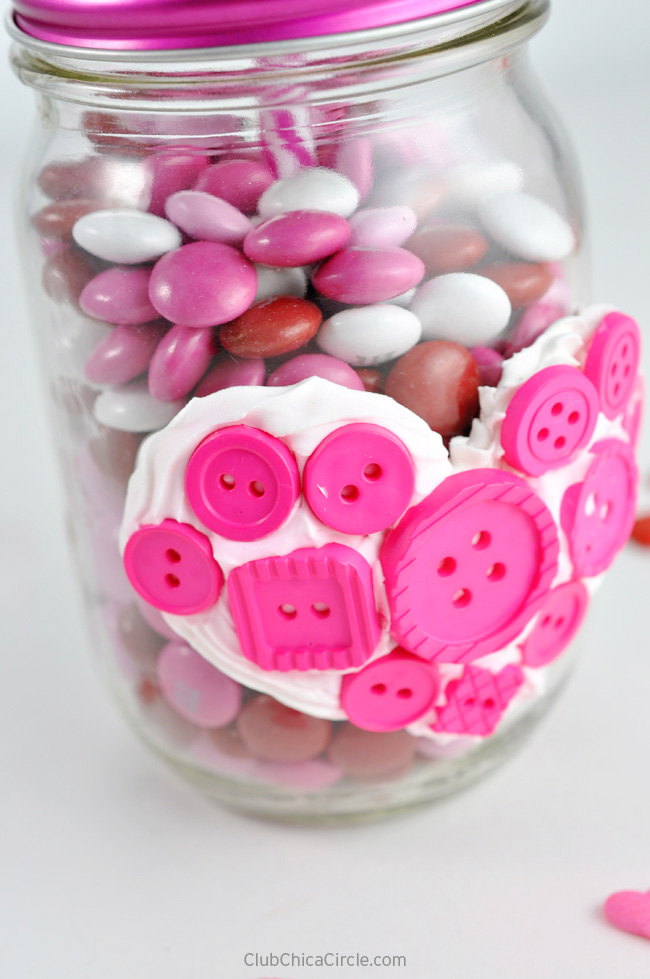 Valentine Mason Jar with Button Heart