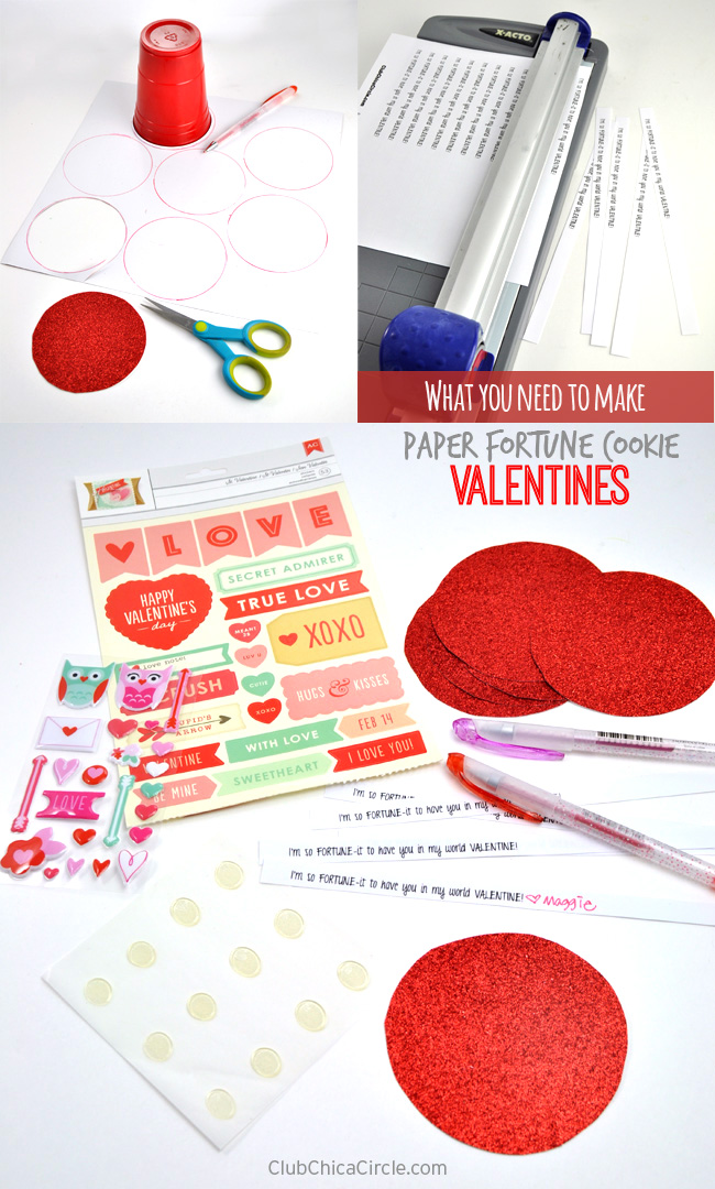 What you need to make paper fortune cookies Valentines