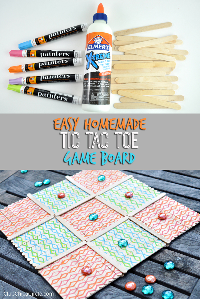 Easy homemade tic tac toe game board for Sticky boards for crafts