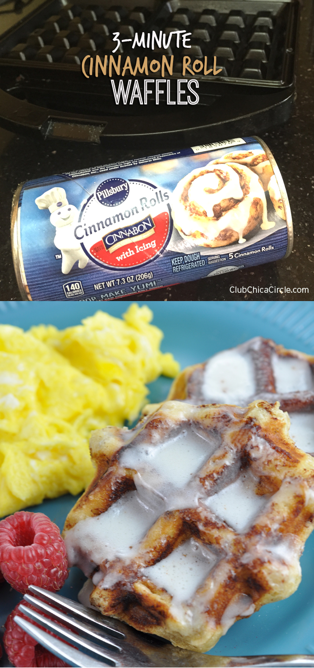 Easy 3-minute cinnamon roll waffles recipe idea