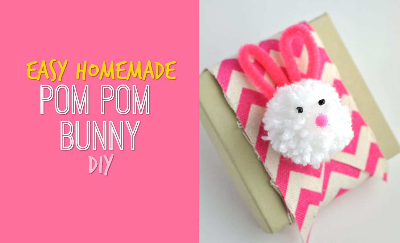 Easy Homemade Pom Pom Bunny Easter Decoration Craft DIY