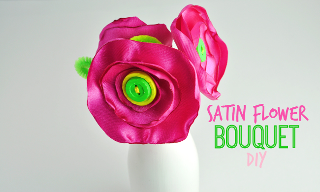 Satin Flower Homemade Bouquet Craft DIY