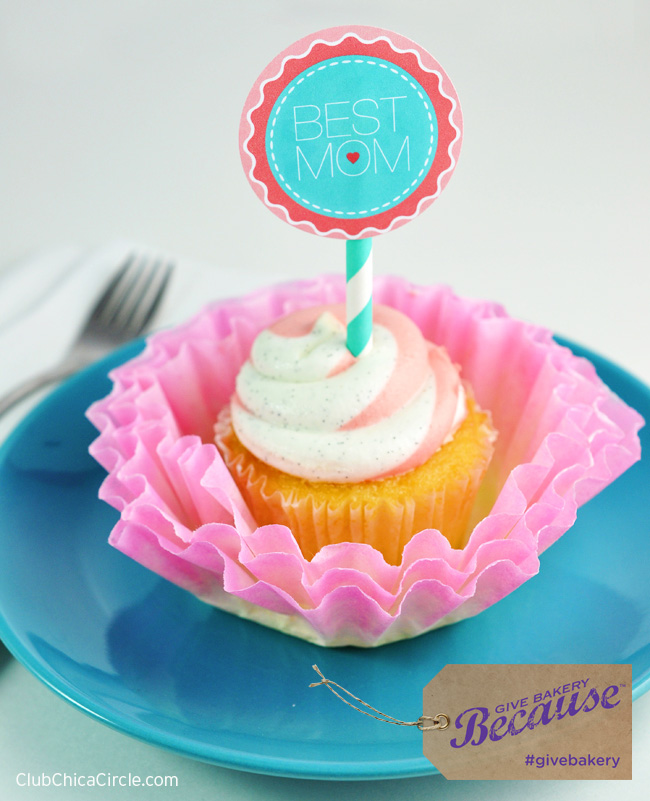 Best Mom Cupcakes with Coffee Filter hand dyed flowers #givebakery