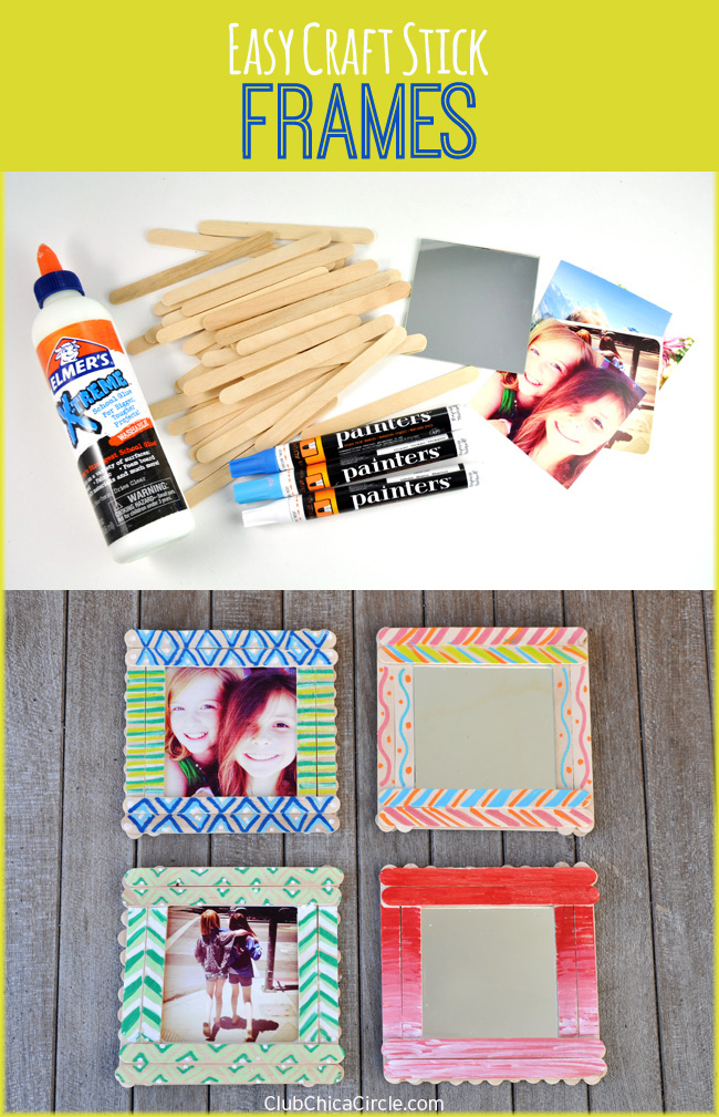 Craft Stick Decorated Frames DIY @clubchicacircle