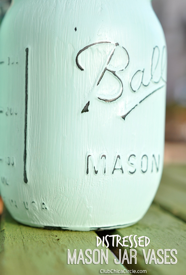 Distressed Mason Jar with Chalky Finish Paint