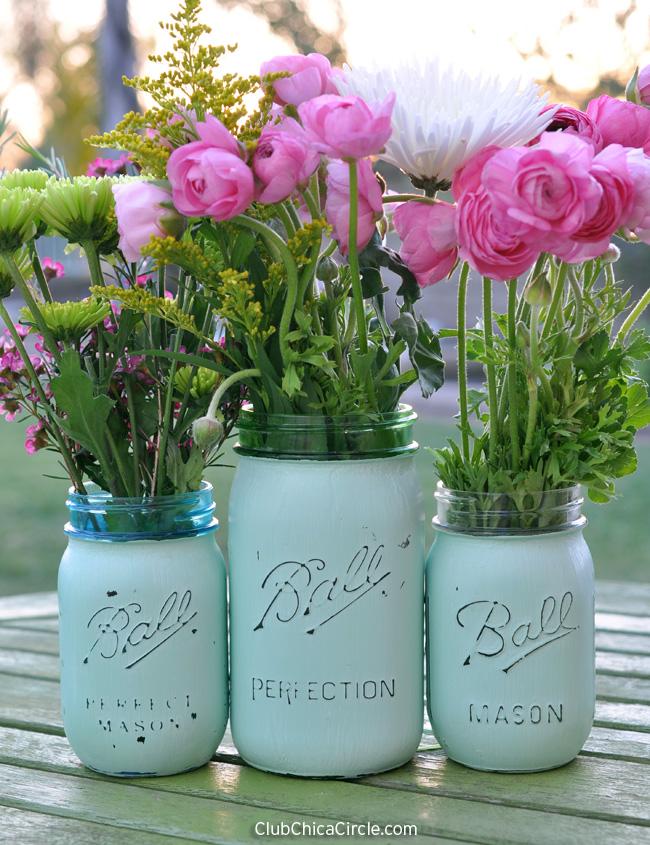 Distressed Mason Jar Vases Diy