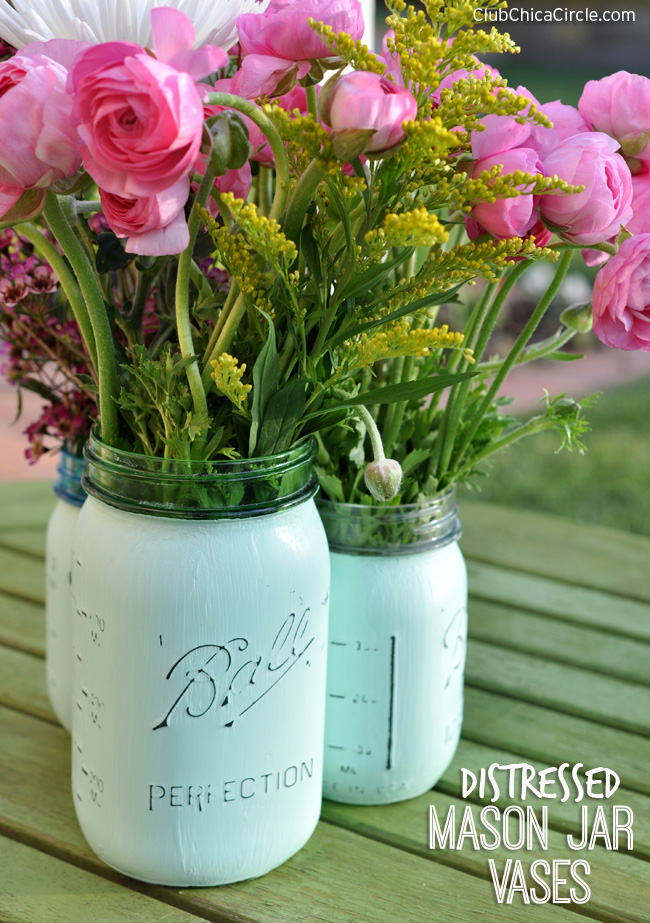 Distressed Mason Jar Vases Diy