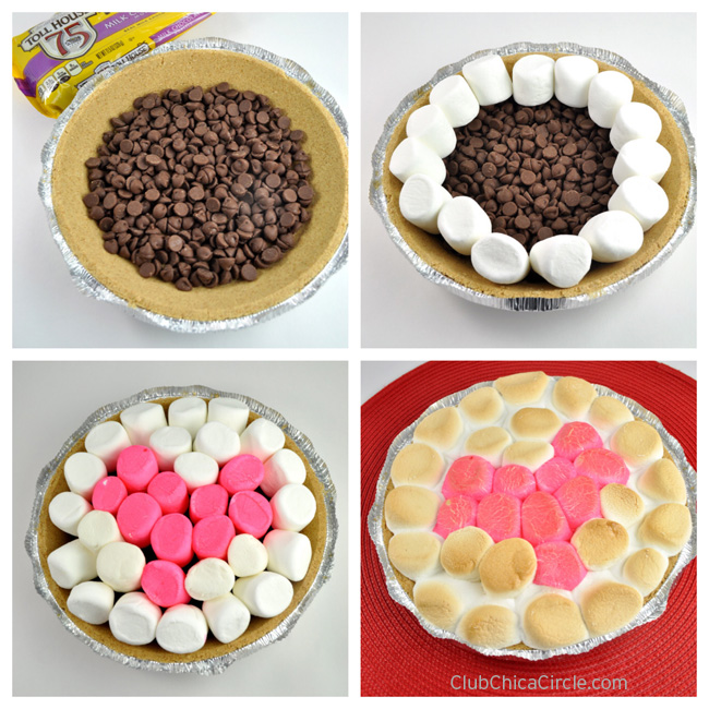Easy Oven-Baked Heart S'mores Pie Recipe Idea