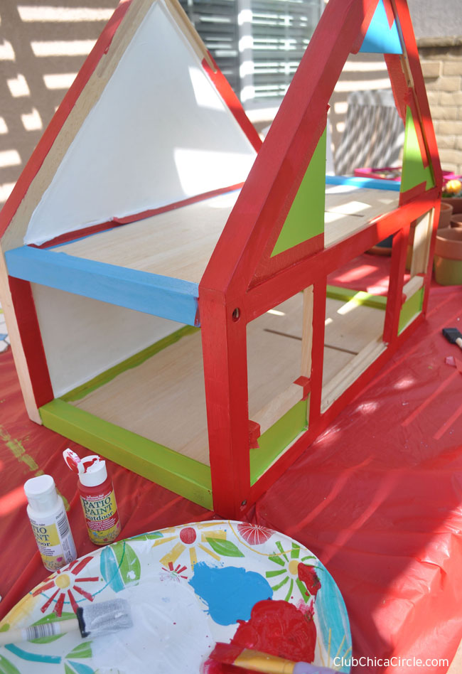 Upcycle Dollhouse Herb Garden in red, green, blue patio paint