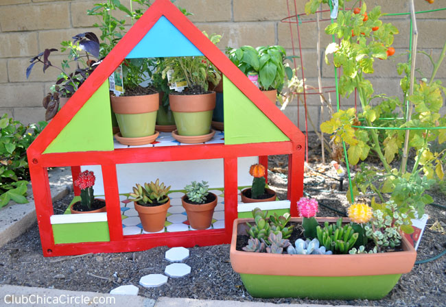 Upcycled Dollhouse Herb Garden craft for Spring