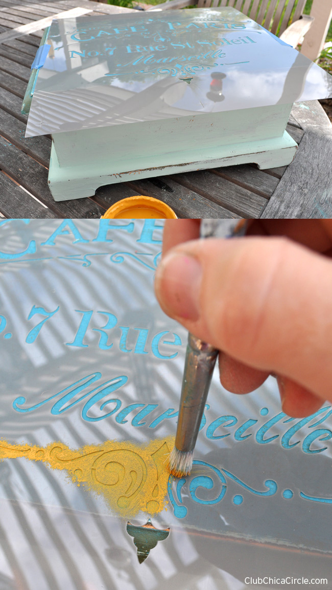 How to stencil on wood box with chalky finish paint