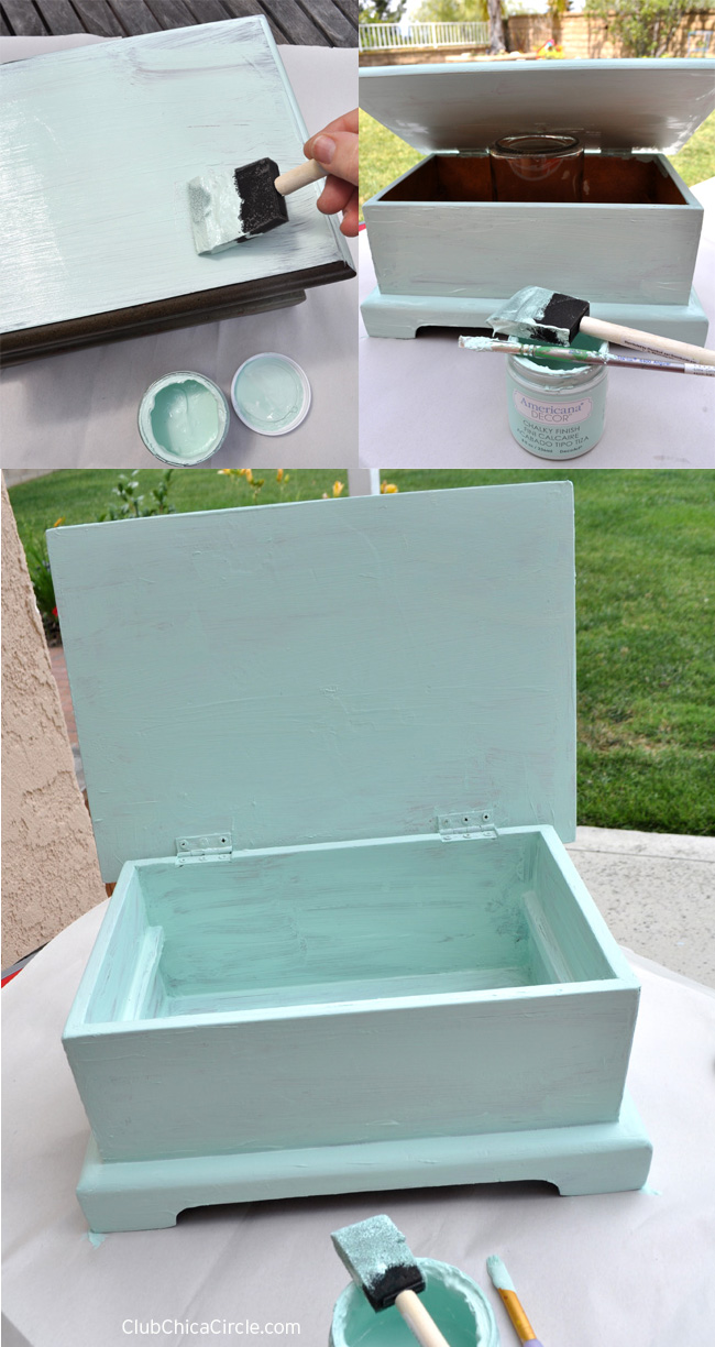 jewelry box upcycle with Decoart #chalkyfinish paint