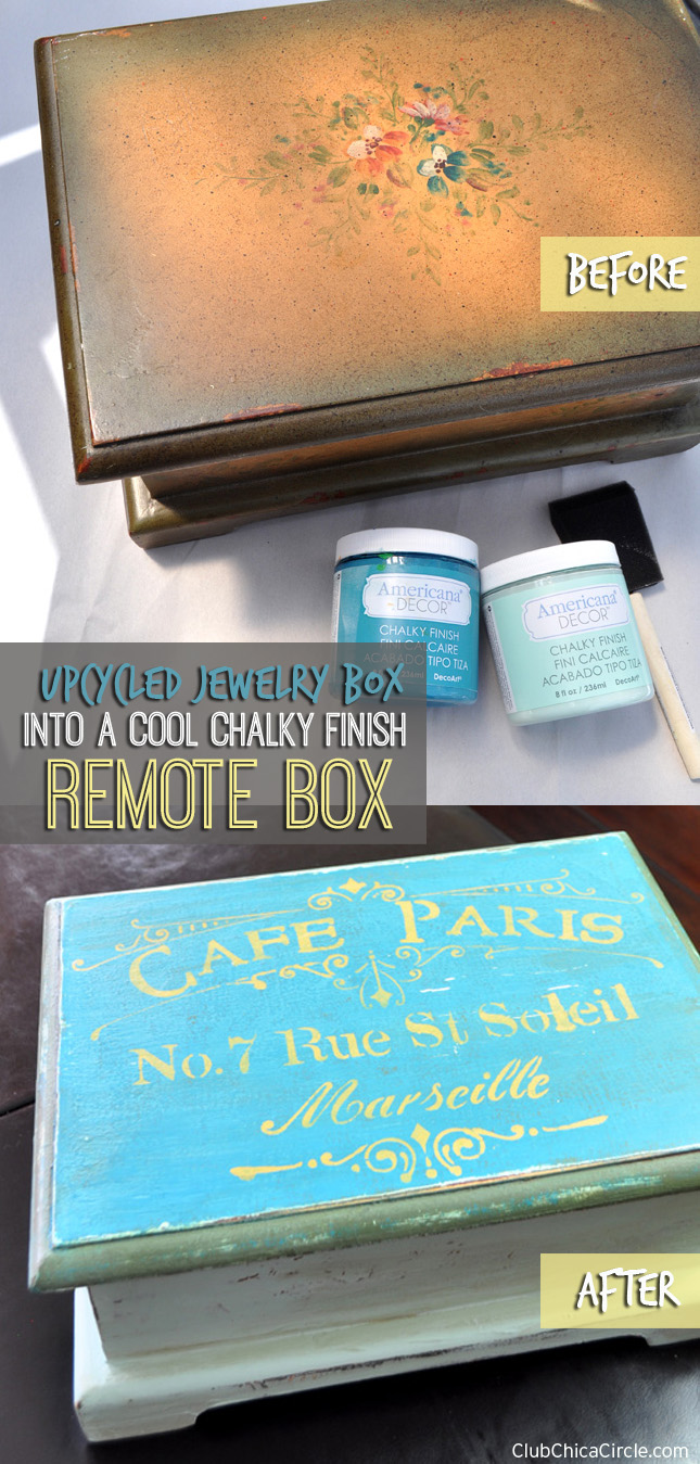 upcycle a jewelry box into a cool remote box with #chalkyfinish