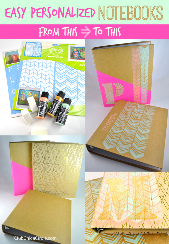 personalized notebook DIYs before and after