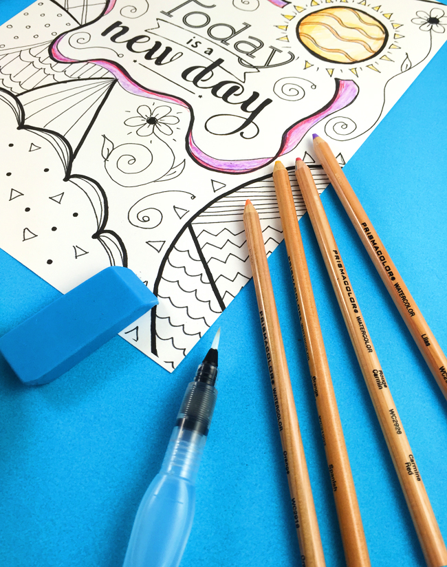 supplies for adult coloring pages