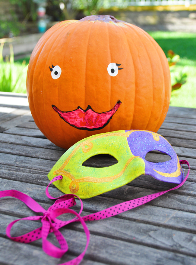 Cute hand painted decorated pumpkin easy craft idea