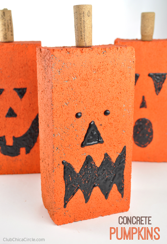 Easy Concrete Pumpkins Fall Craft Idea