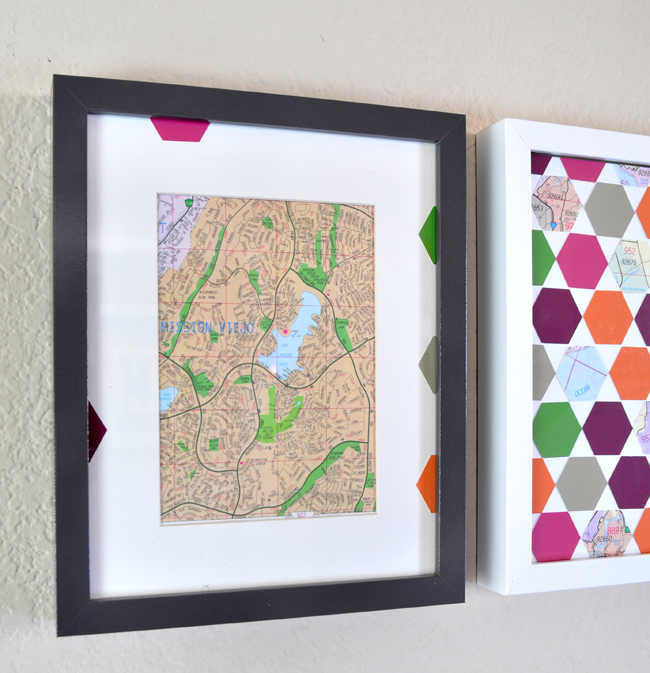Easy paint chip and map upcycle art