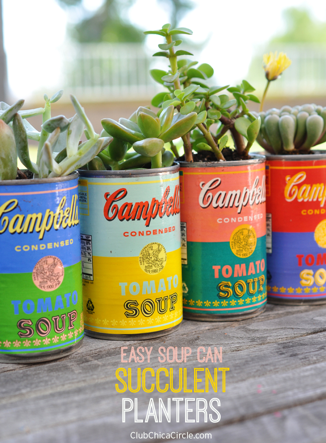 Easy soup can succulent planters decoupage craft