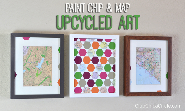 Paint Chip and Map easy art project idea