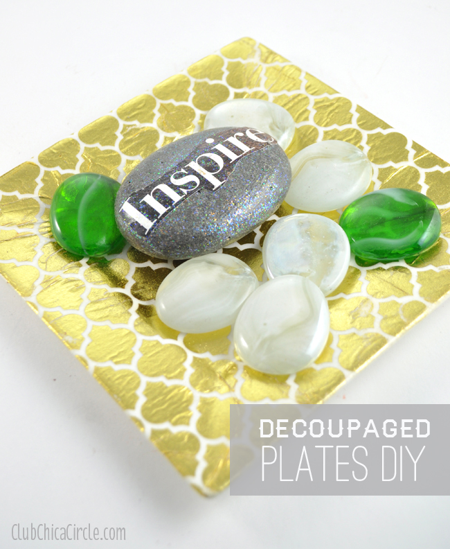 decoupage gold plate easy DIY craft idea