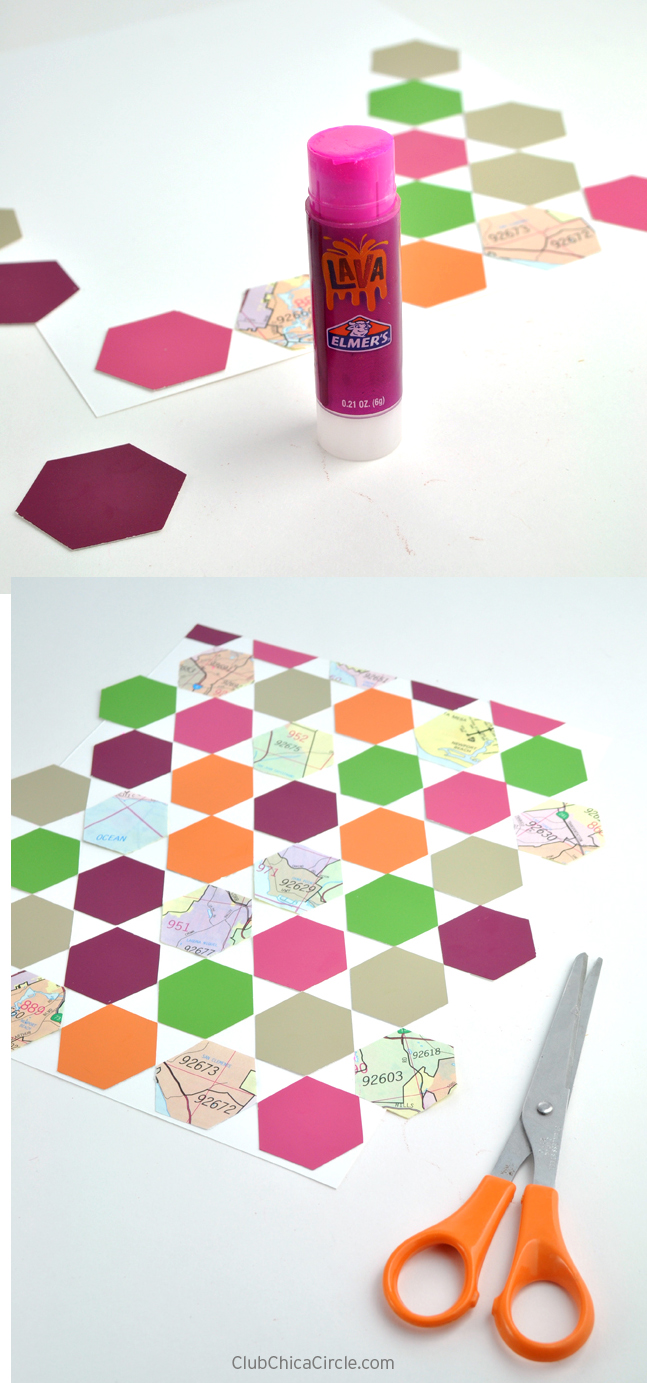 hexagon paper punch, paint chip and map upcycle project