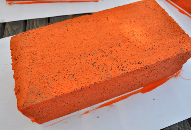 painted concrete brick craft idea