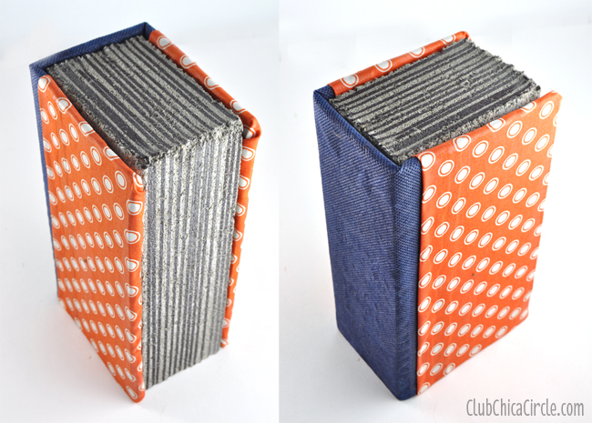Fake Book Concrete Brick bookends craft DIY
