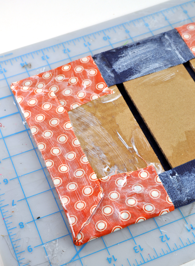 How to make Book concrete brick bookends with fabric and decoupage