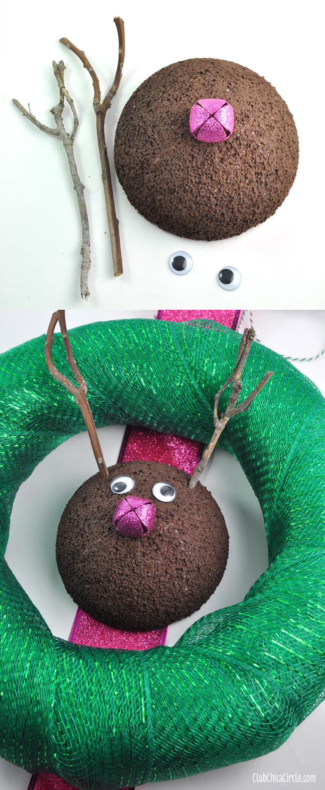 cute homemade reindeer wreath craft idea