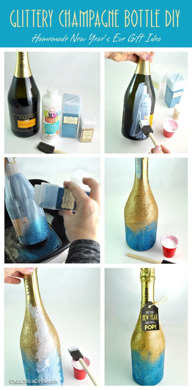 Glittery Champagne Bottle easy homemade gift DIY @clubchicacircle
